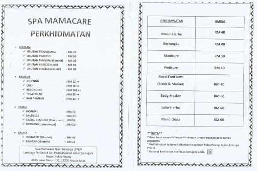 Kadar bayaran Spa Mamacare Pulau Pinang